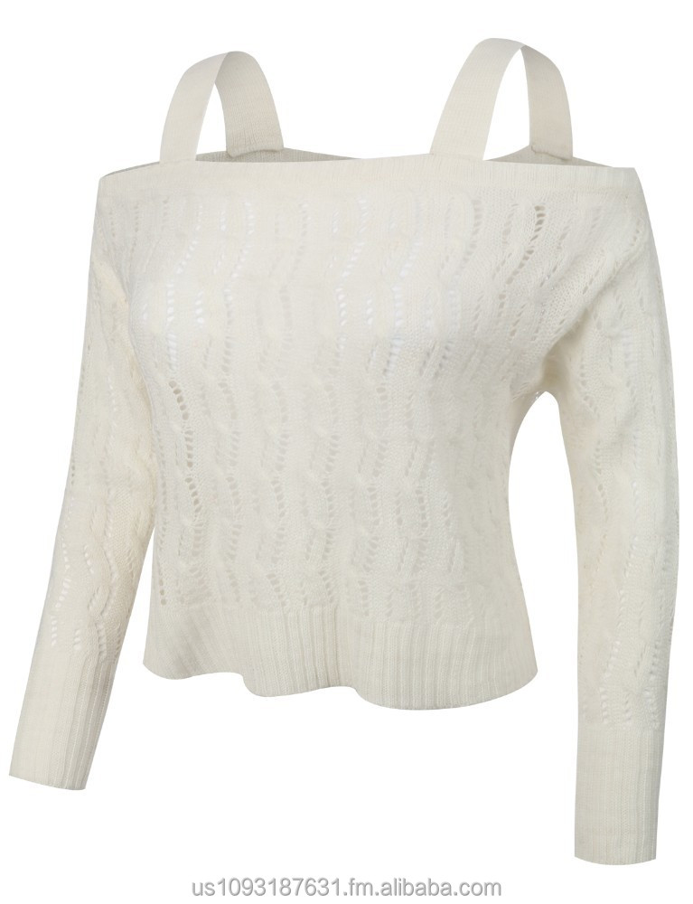 Womens Long Sleeve Off Shoulder Eyelet Knit Loose Crop Sweater