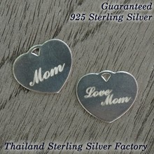 love mom heart tag ,925 Sterling silver pendant with laser mother day gift