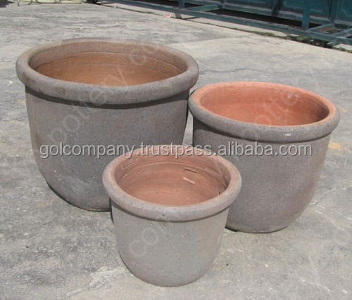 [wholesale] Round Dark clay vase - Rustic Copper pots (New) - Garden urns planters - Vietnam pottery Manufacturer