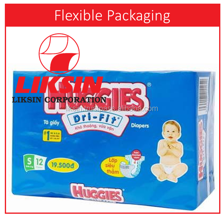2016 Flexo printing diaper PE plastic packaging bags for baby