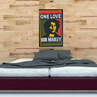 Indian One Love Bob Marley Wall Hanging Cotton 45X30 inch Poster