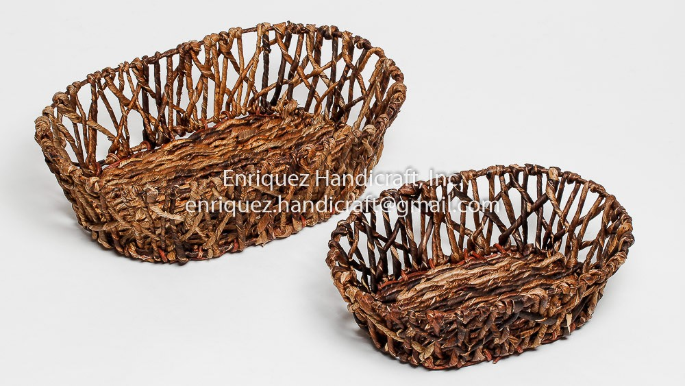 Set of 2 Woven Tabletop Bread Trays