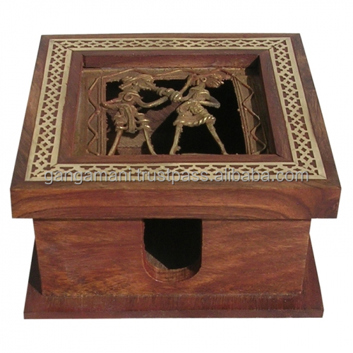 Handmade Sheesham Wooden Slip Box with Dogra Painting - Rajasthani handicrafts