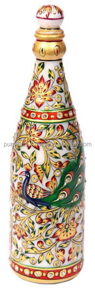 Decorative Wine Bottle Showpiece Hand-Carved from Marble Stone, Indian gift Item (10210)