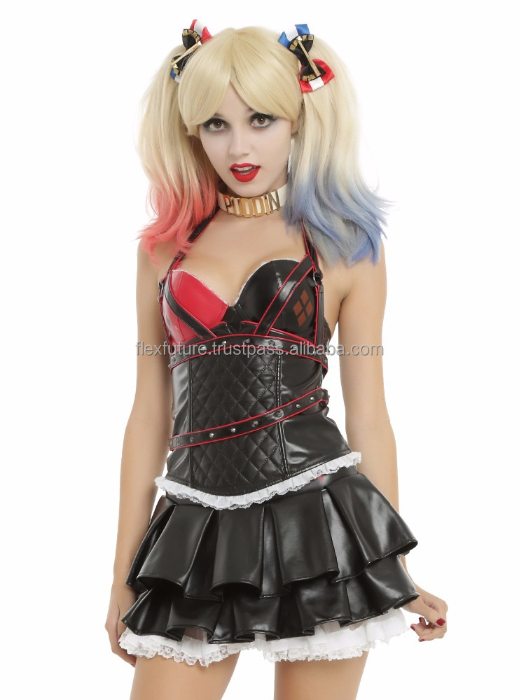 Leather Gothic Dress vampire style for ladies red and black color by flex future