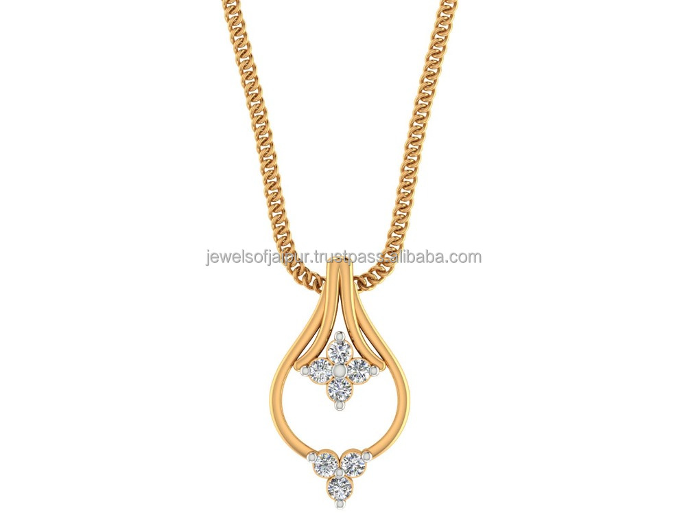 Latest Designer Women Jewelry 14k Hallmark Yellow Gold 0.10Ct Certified Diamond Teardrop Pendant