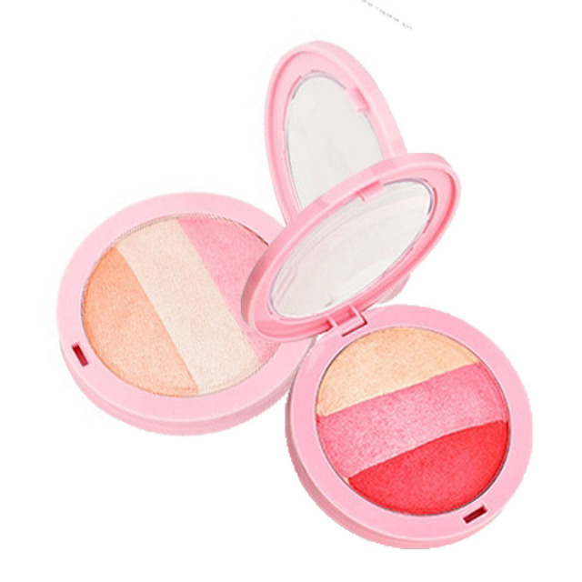 2017 New Beauty Face Blush Makeup Baked Cheek Color Blusher Palette Shimmer Sleek Cosmetic Face Shadow Pressed Powder