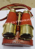 Antique Nautical Brass Binocular with leather Pouch