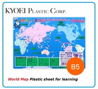Plastic sheet for studying the world map and country flags , office & school supplies