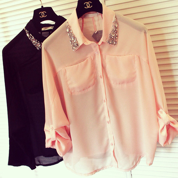 Beaded shirt/Ladies shirt/Hand beaded shirt