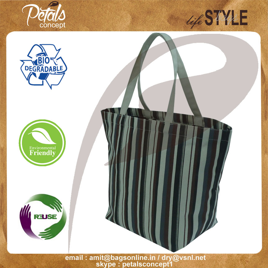 New design cotton canvas tote bag with open hanging pocket - Multicolor allover stripe print - Hot print bags