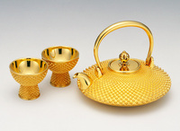 Sake pitchers and cups set , 24 k gold , Japanese traditional craft , for gift