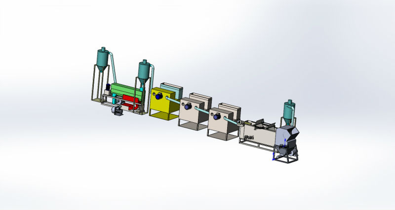 The line of equipment for crushing and washing plastic waste, plastic film.