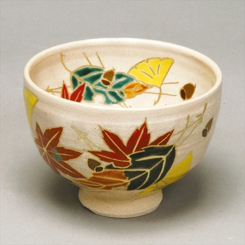 Feel the season Autumn tea bowl kenzan fukiyose for drink matcha japanese tea ceremony