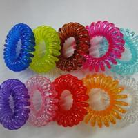 Phone Wire Hair Elastic Plastic transparent mixed colors 35-40mm Inner Diameter:Approx 35mm Sold By PC