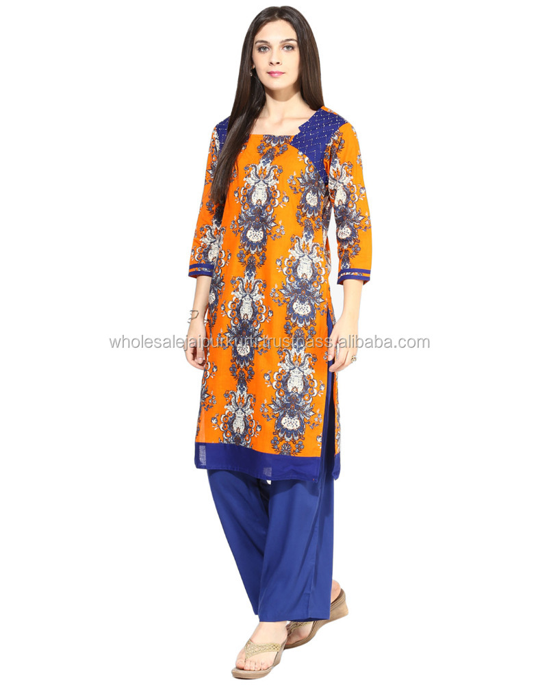 designer casual printed cotton fabric kurti palazzo set for women