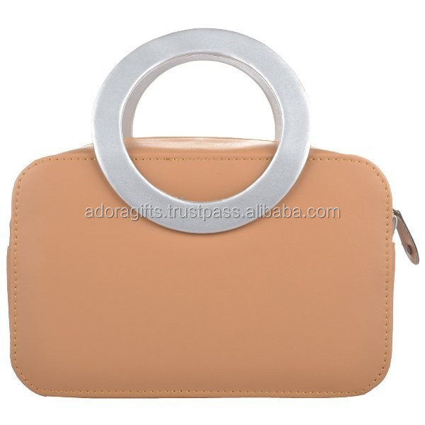 Beautiful Beige Color PU Leather Cosmetic Bag For Women / Imitation Leather Cosmetic Bag / Bag With Handle