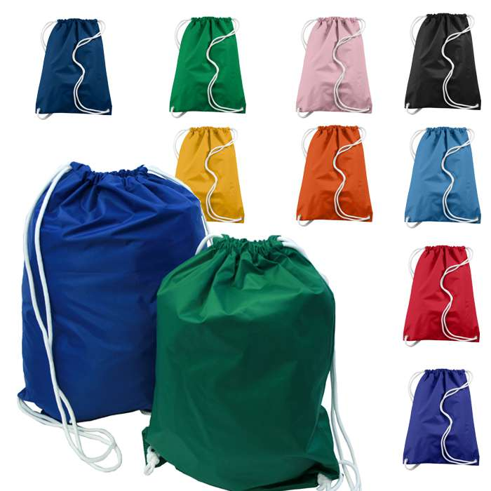 Customized printed Reusable Nylon Drawstring Bags/ gym sack / sports bags