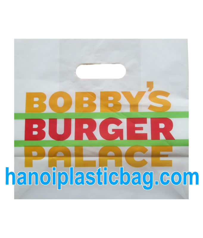 White HDPE Plastic Die Cut Handle Bag for Shopping - Made in Vietnam - Fair price