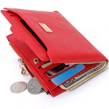 New Small Designer Slim Women Red Wallet Thin Zipper Ladies PU Leather Coin Purses Female Purse Mini Clutch Cheap Womens Wallets