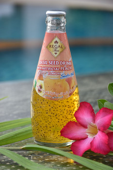 Basil Seed Drink with Peach Flavor in glass bottle (290ml)