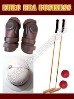 polo knee guard, 2 polo mallets, polo helmet & arena balls