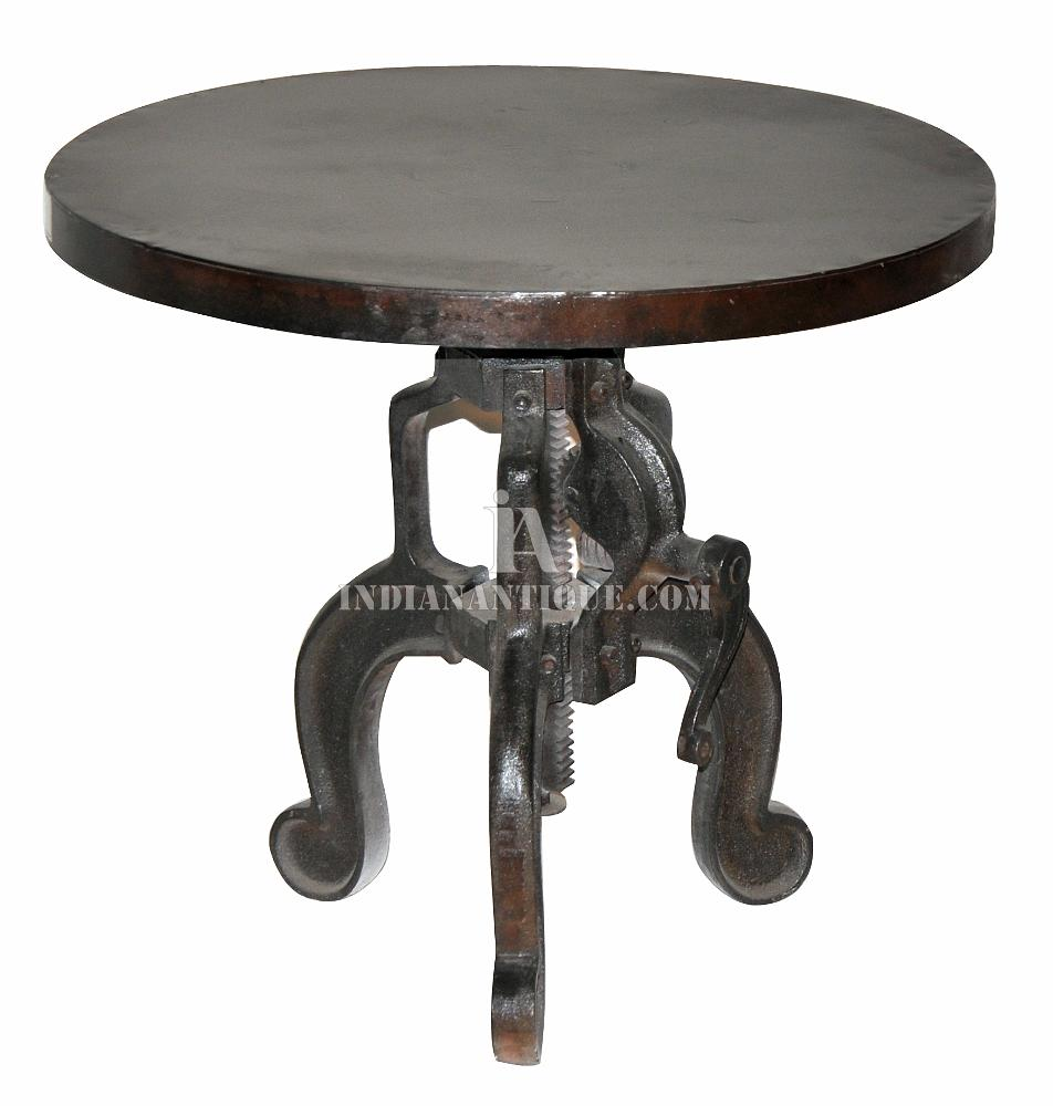 EXCLUSIVE INDIAN INDUSTRIAL FURNITURE THREE CAST IRON LEG INDUSTRIAL CRANK COFFEE AND DINING TABLE FROM FURNITURE JODHPUR INDIA