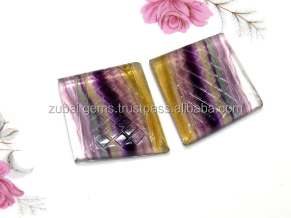 220Crt Match Pair Awesome Natural Fluorite Carving Fancy Shape Cabochon AAA+++ Good Quality On WholeSale Price
