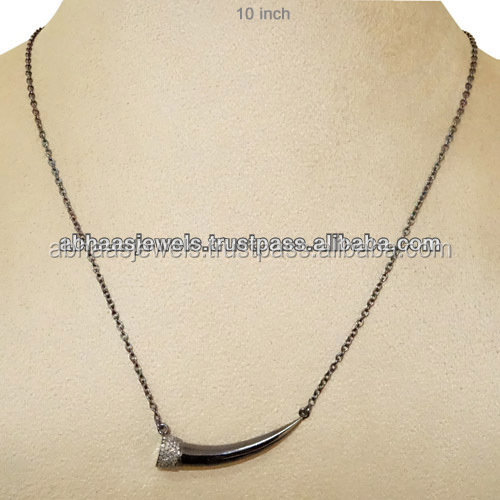 Diamond 925 Sterling Silver Chain Connector Elephant Tooth Necklace Jewelry