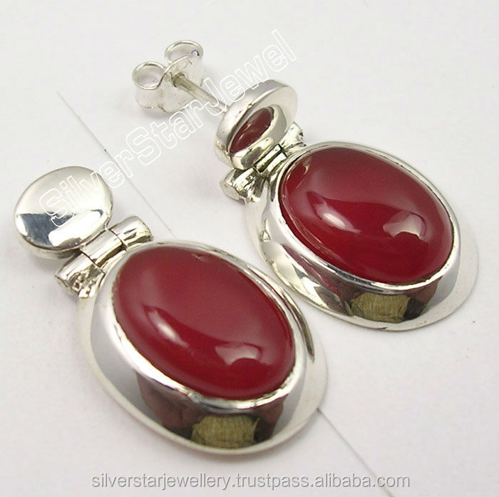 2016 new 925 sterling silver women CARNELIAN LARGE CHUNKY Studs unique wedding jewelry Earrings 2.6CM