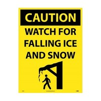 "NMC C749F, 32""x24"" 4mm Corrugated Plastic ""Caution Watch For Falling Ice"" Sign"