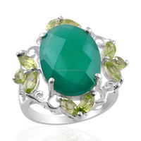 925 Sterling Silver Rings, Green Onyx and Peridot Gemstone Silver Rings Stockist