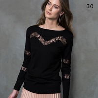 sexy lace cut black color sweater