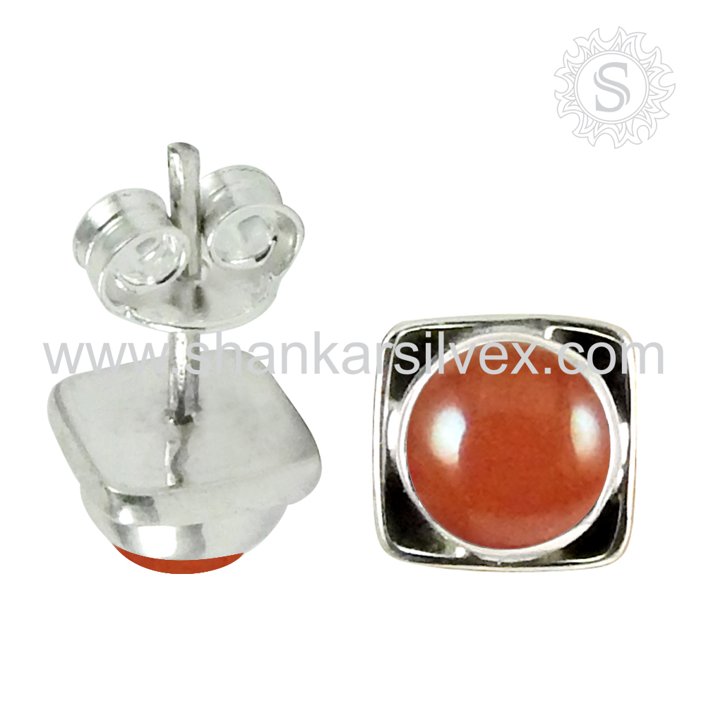 Wholesale choices Gemstone silver new design jewelry women Carnelian Earring 925 Sterling Silver Jewelry Supplier