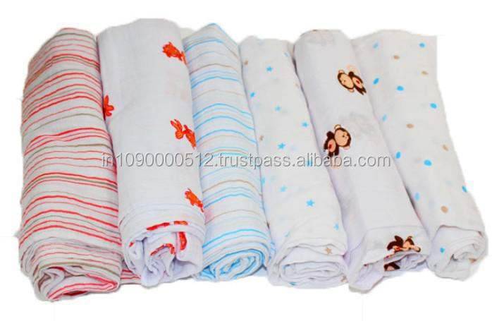 Blue Yellow Muslin Cloth Baby Swaddle Blanket