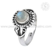 Blue sheen rainbow moonstone gemstone ring Offers 925 sterling silver jewelry wholesale suppliers