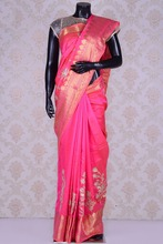Pink mesmeric tussar silk saree with gota work