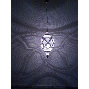 B245 Silver Plated Steel Mosaic Moroccan Home Decor Hanging Night Lamp