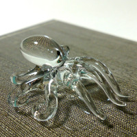 Tiny Crystal Squid / Octopus Hand Blown Clear Glass Art Figurines Home Decor / Ocean Sea Collection