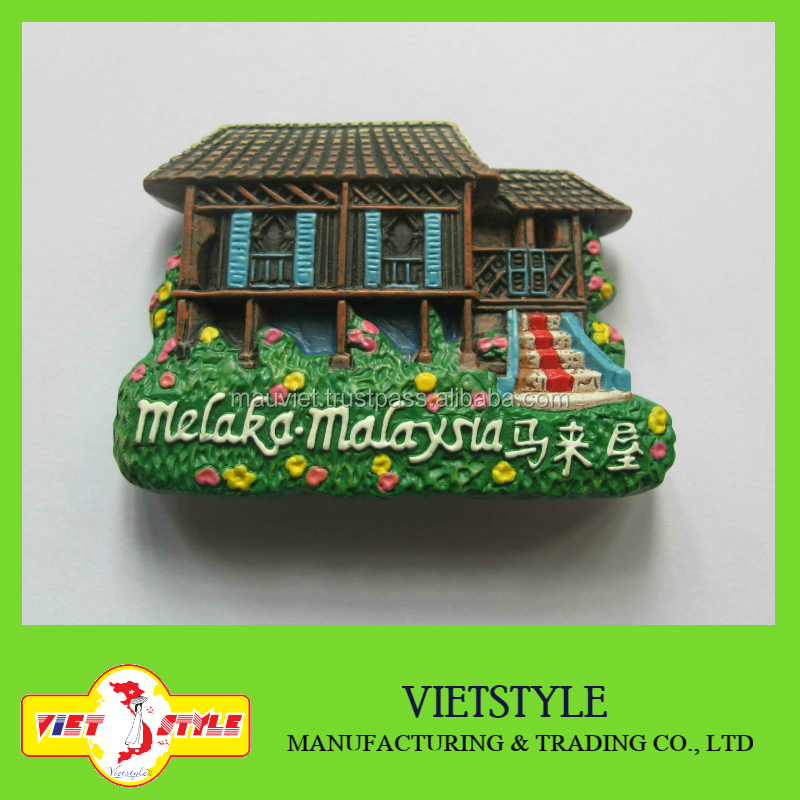 Polyresin Malaysia landscape fridge magnet for home decoration
