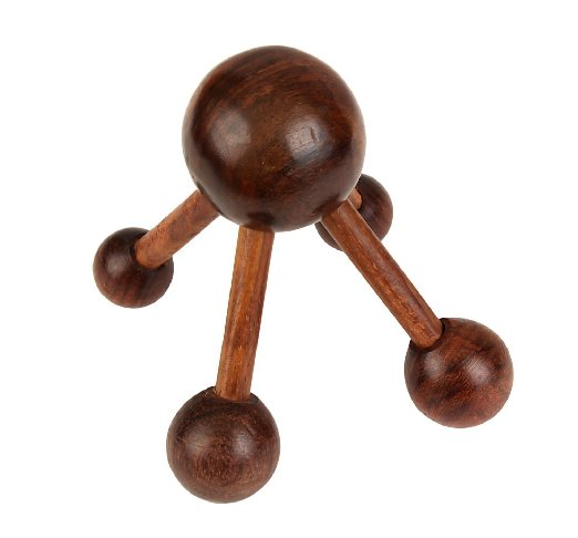 Store Indya Acupressure Tool Wooden Handheld Head Massage Roller, Full Body Massager for Stress & Pain Relief