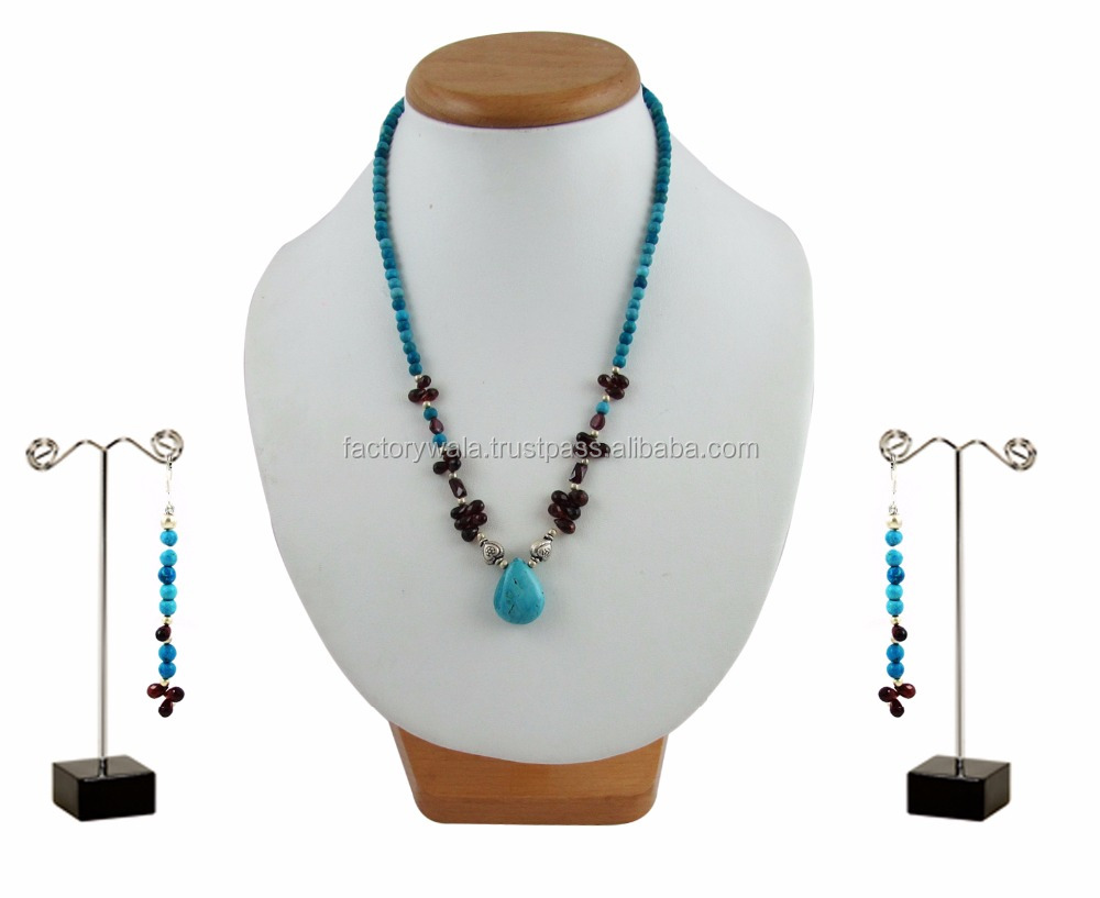 Factorywala Women's,Girls Turquoise and Garnet Stones 92.5 Silver Necklace and Earrings Sets