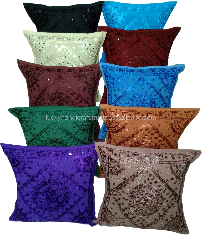 Indian Handmade Cotton Mirror Work Cushion Covers/100% Cotton Wholesale Cushion Covers/Applique Work Cushion Cover