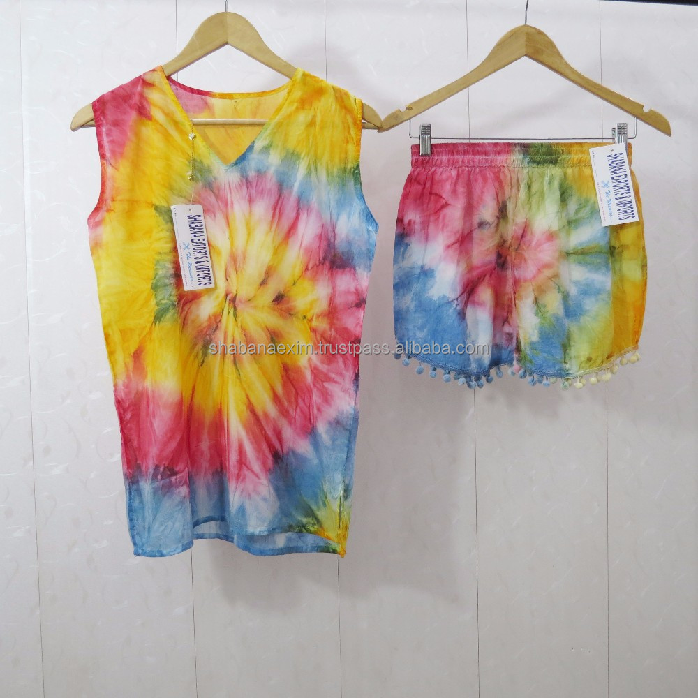 Sexy western ladies tops tie dye customised boho dress tops and shorts with pompom