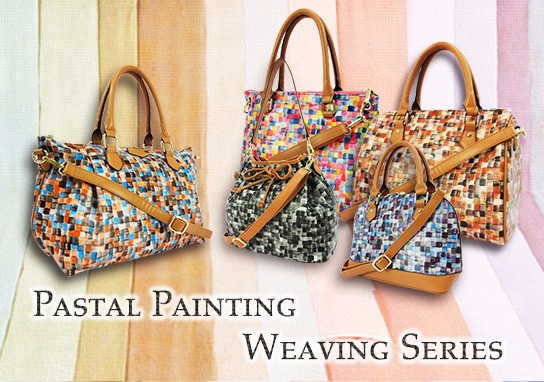 Pastal Painting Weaving Series PU leather handbag