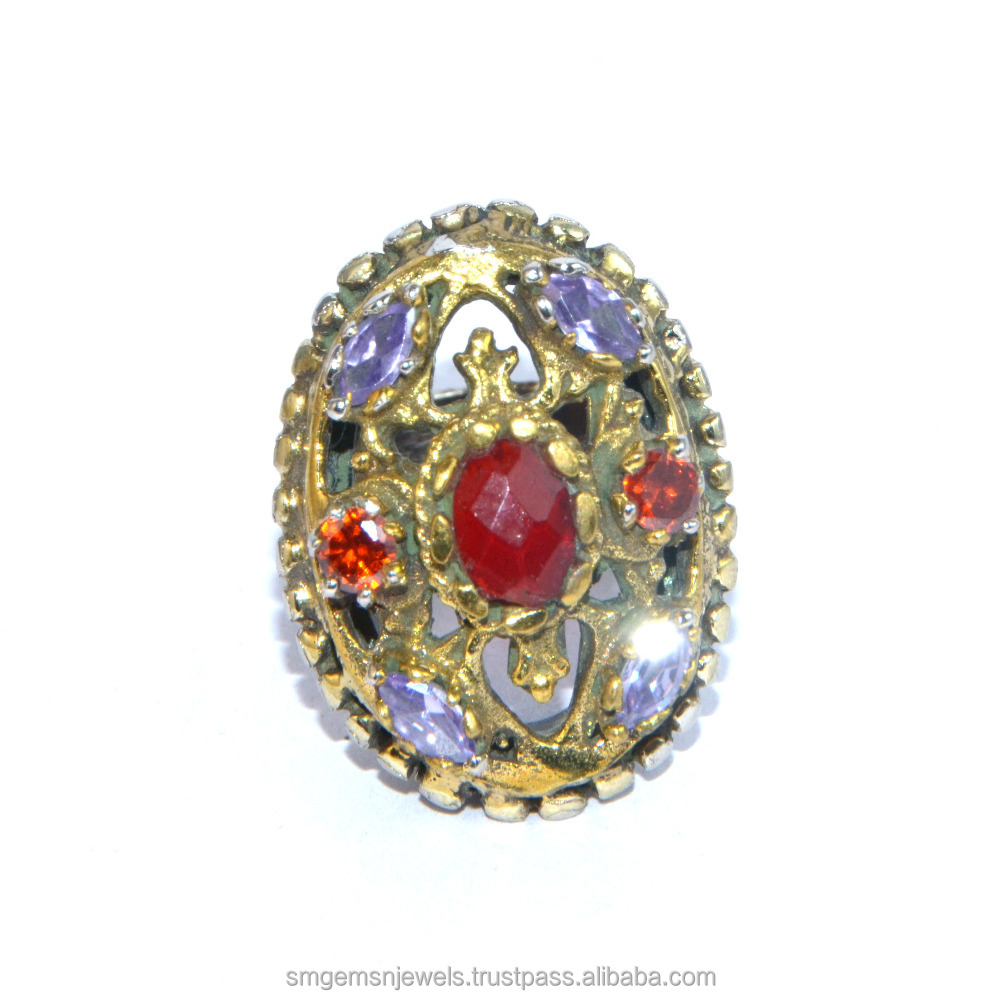 925 Sterling Silver Turkish Jewellery With Ruby & multi stone ring