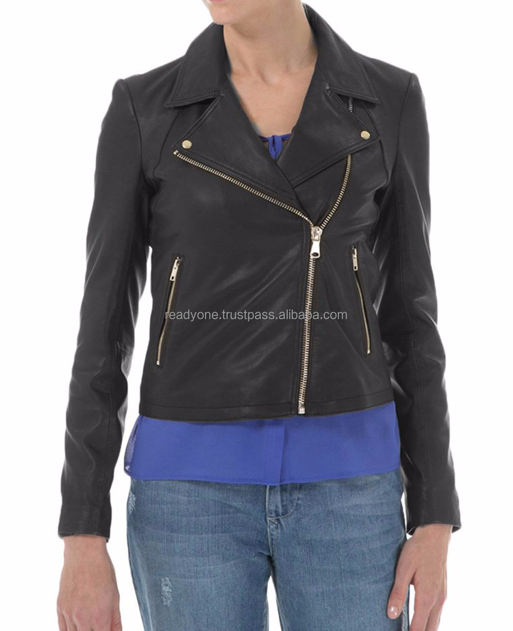 Alibaba wholesale women clothing market hot sale short black leather jacket ladies