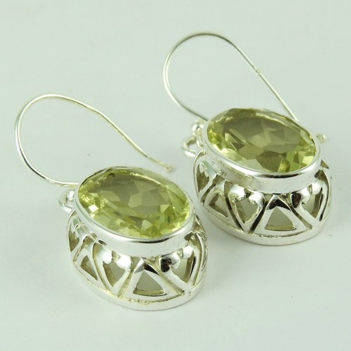 Gorgeous !! Lemon Topaz 925 Sterling Silver Earring, 925 Silver Jewellery , Cheap Silver Jewelry