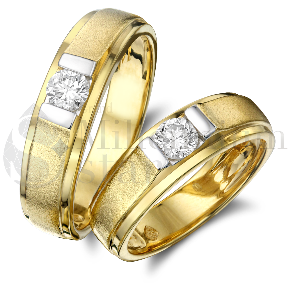 Couple Yellow Gold Diamond Rings Jewelry 18k 0 20 Ct Buy Pair