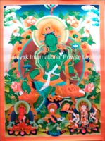 Beautiful Green Tara Thangka Handpainted in Nepal